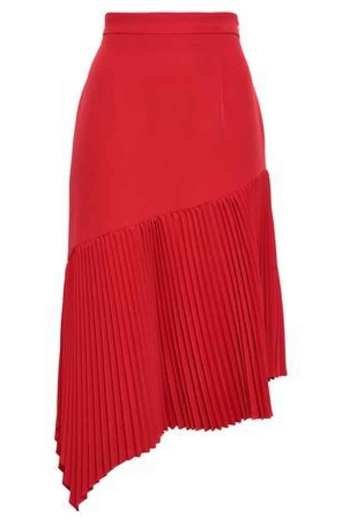 Milly Woman Paneled Pleated Crepe Skirt Red Size 4