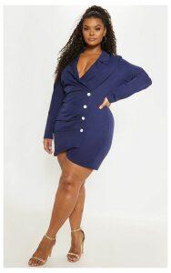 Plus Navy Ruched Detail Contrast Button Blazer Dress, Blue