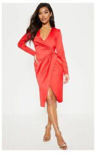 Red Drape Pleated Detail Midi Dress, Red