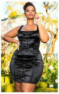 Black Lace Up Square Neck Bodycon Dress, Black