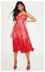 Red Lace Cup Detail Midi Dress, Red
