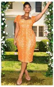 Orange Lace Puff Sleeve Midi Dress, Orange