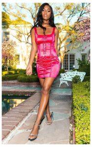Fuschia Lace Up Square Neck Bodycon Dress, Pink