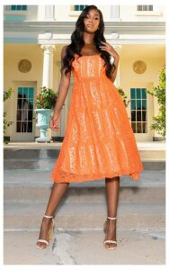 Orange Lace Square Neck Midi Dress, Orange