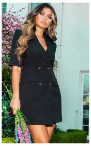 Black 3/4 Sleeve Blazer Dress, Black