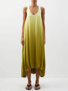 Vika Gazinskaya - Leopard Jacquard Trench Coat - Womens - Green Multi