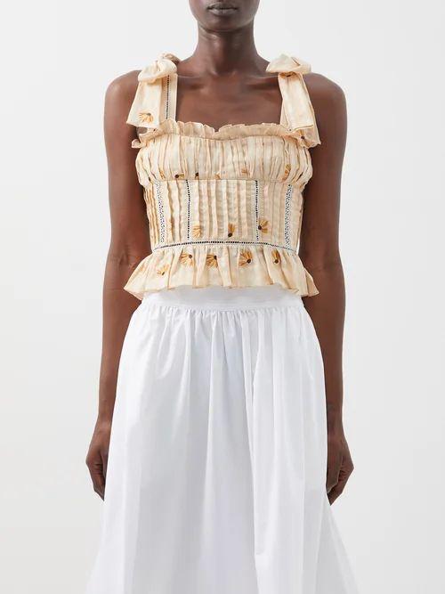 Alessandra Rich - Buttoned Cotton Blend Tweed Dress - Womens - Navy