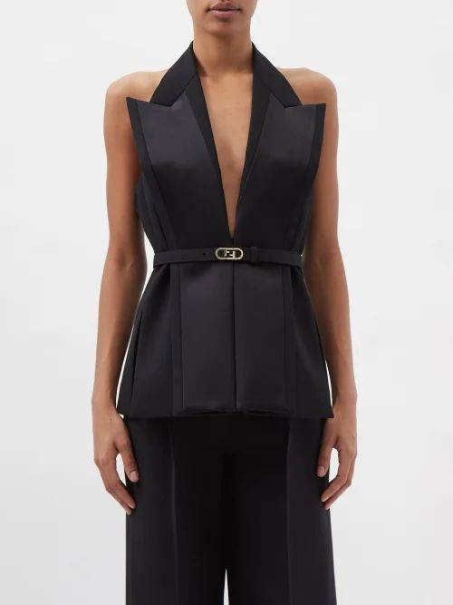 Alessandra Rich - Buttoned Cotton Blend Tweed Dress - Womens - Navy