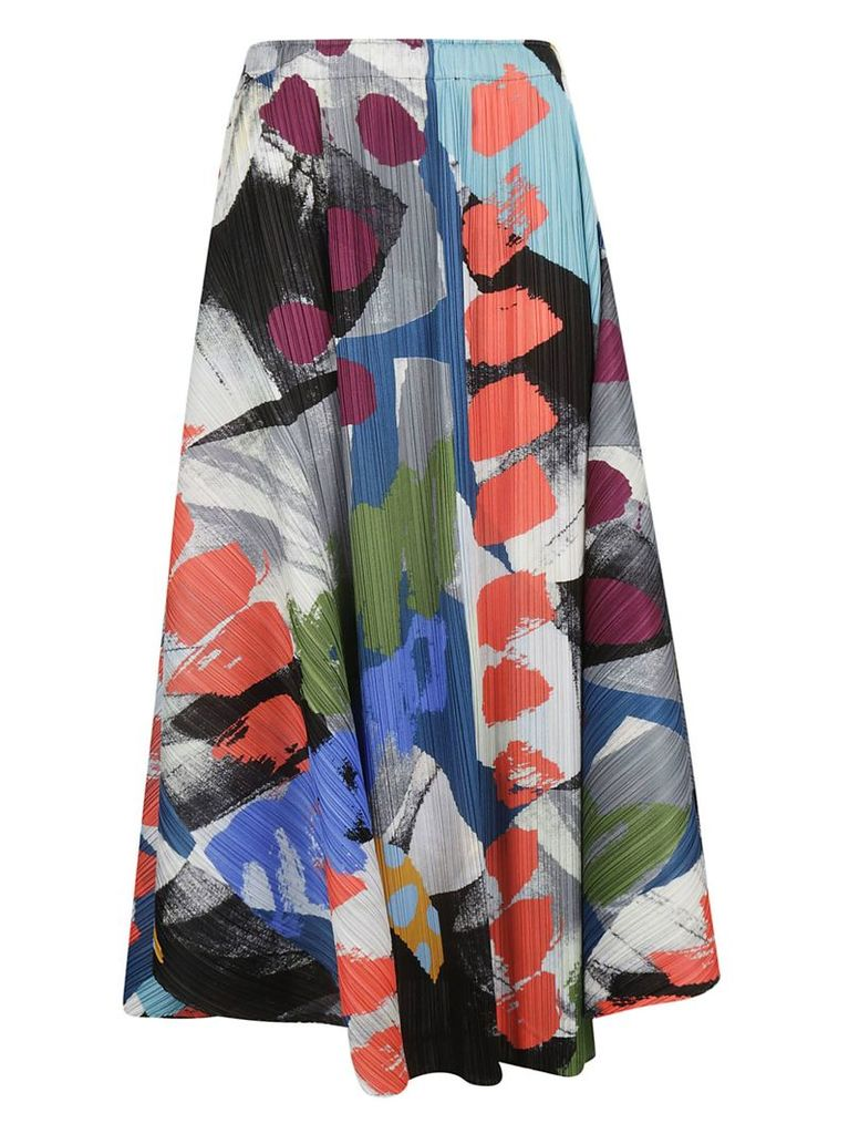 Pleats Please Issey Miyake Printed Pleated Midi Skirt