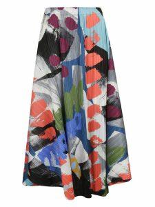Pleats Please Issey Miyake Printed Pleated Midi Skirt