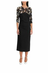 Off-White Sheath Dress With Floral Insert