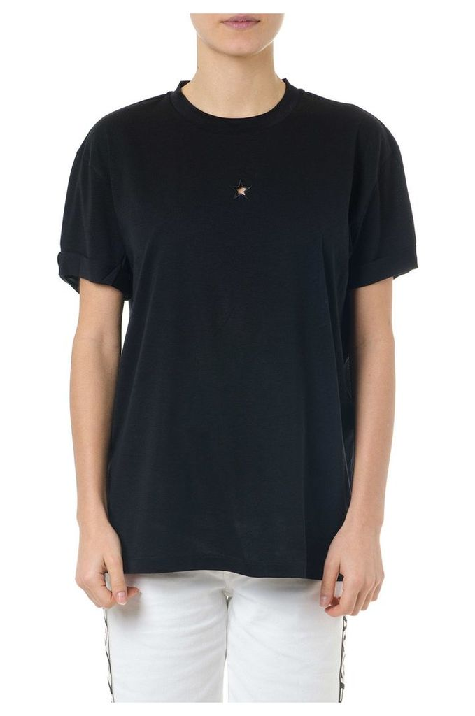 Stella McCartney Star Embroidered Black Cotton T-shirt