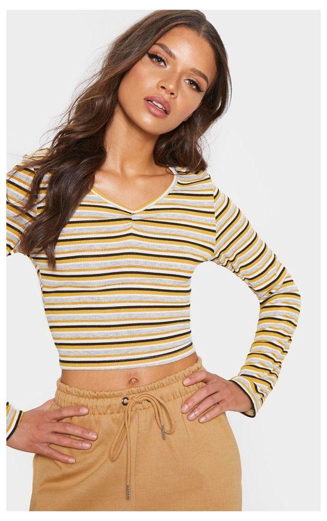 Mustard Stripe Rib Scoop Neck Long Sleeve Crop Top, Mustard