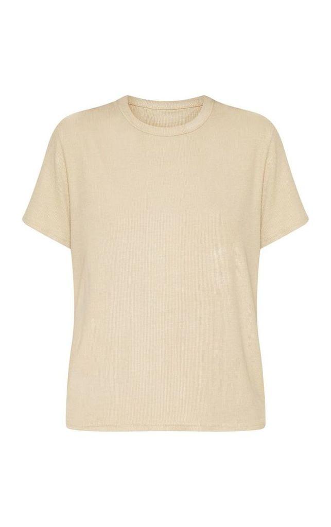 Sand Rib Round Neck T Shirt, Sand