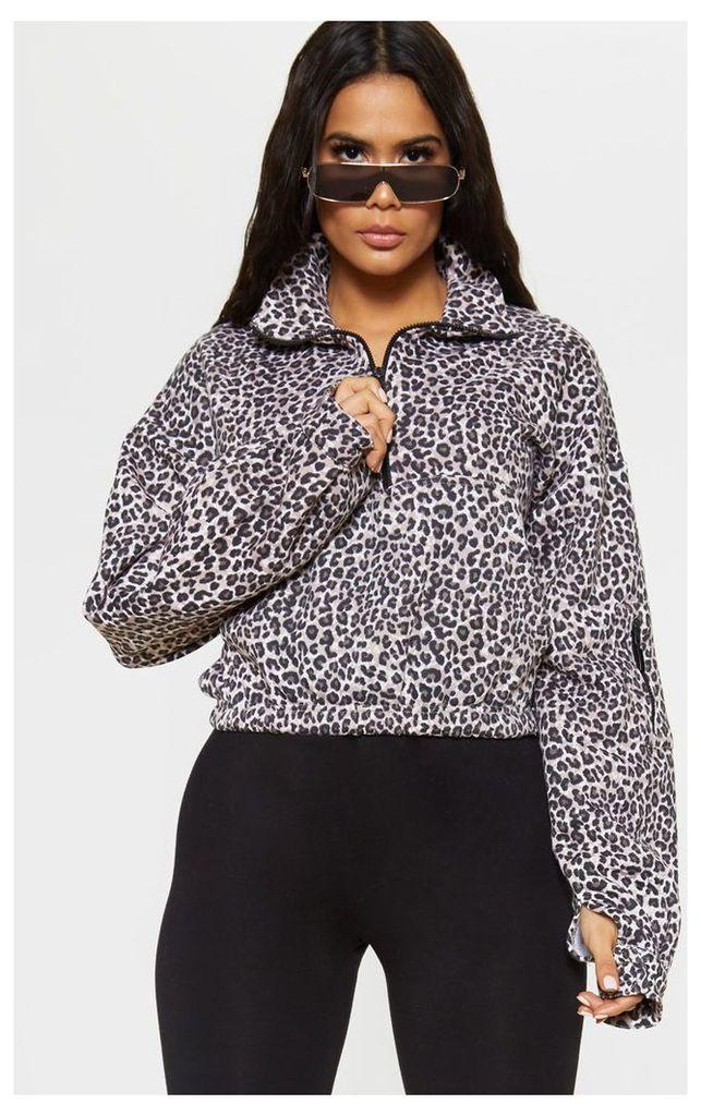 Brown Leopard Printed Zip Front Sweater, Brown