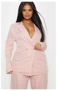 Plus Dusty Pink Check Button Detail Longline Blazer, Dusty Pink