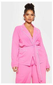 Plus Bright Pink Contrast Detail Blazer, Bright Pink