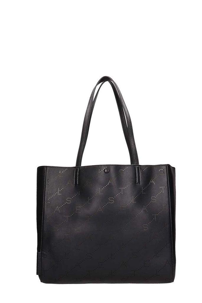 Stella McCartney Black Faux Leather Monogram Tote Bag