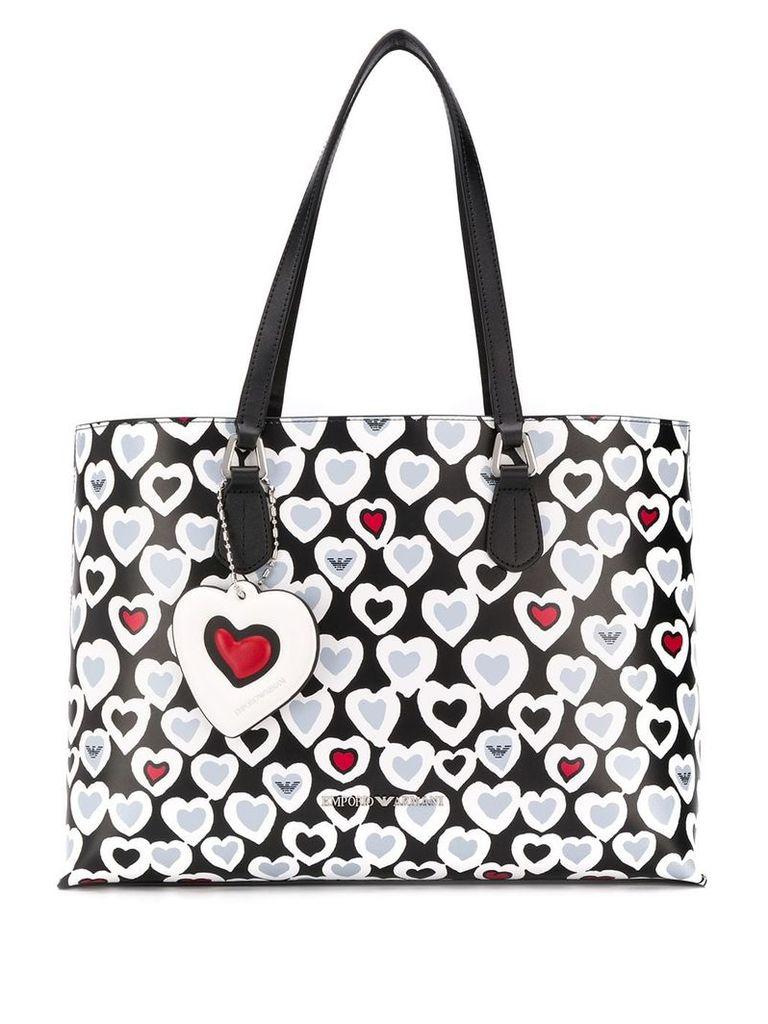 Emporio Armani heart print shopper tote - Black