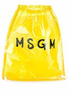 MSGM clear logo print backpack - Yellow