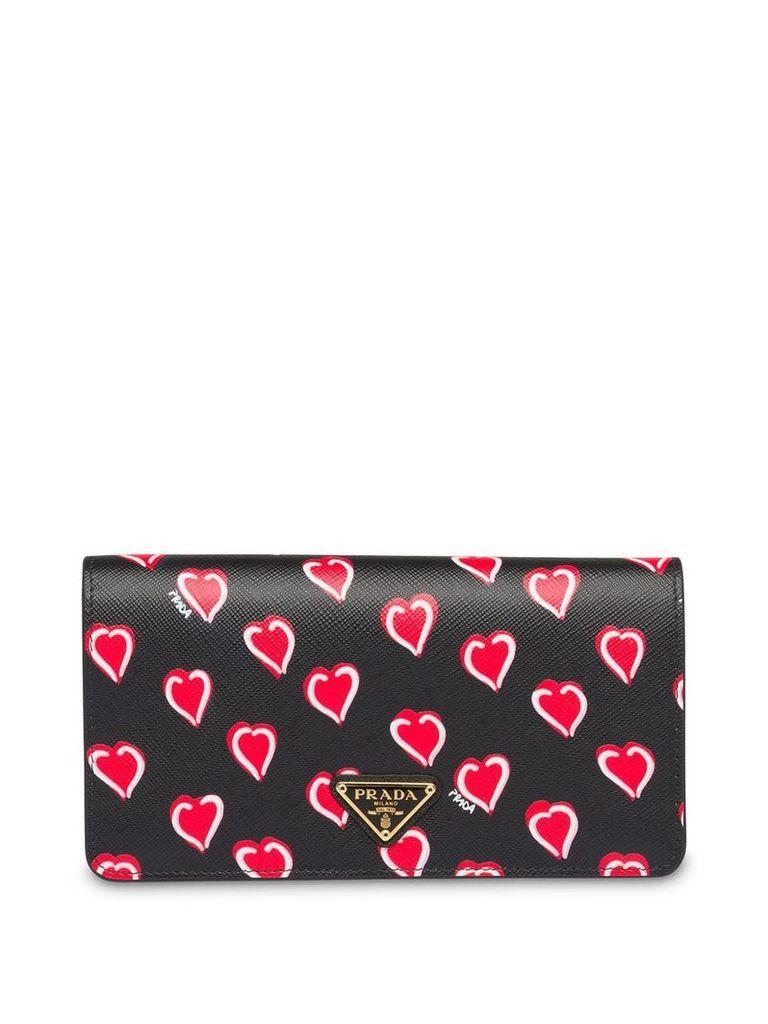 Prada Saffiano leather heart print mini-bag - Black