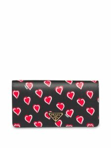 Prada Saffiano leather heart print mini-bag - Black