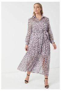 Womens Glamorous Curve Leopard Print Dress -  Purple