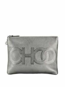 Jimmy Choo logo embossed clutch bag - Silver