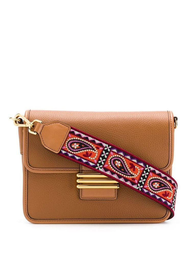 Etro paisley strap shoulder bag - Brown