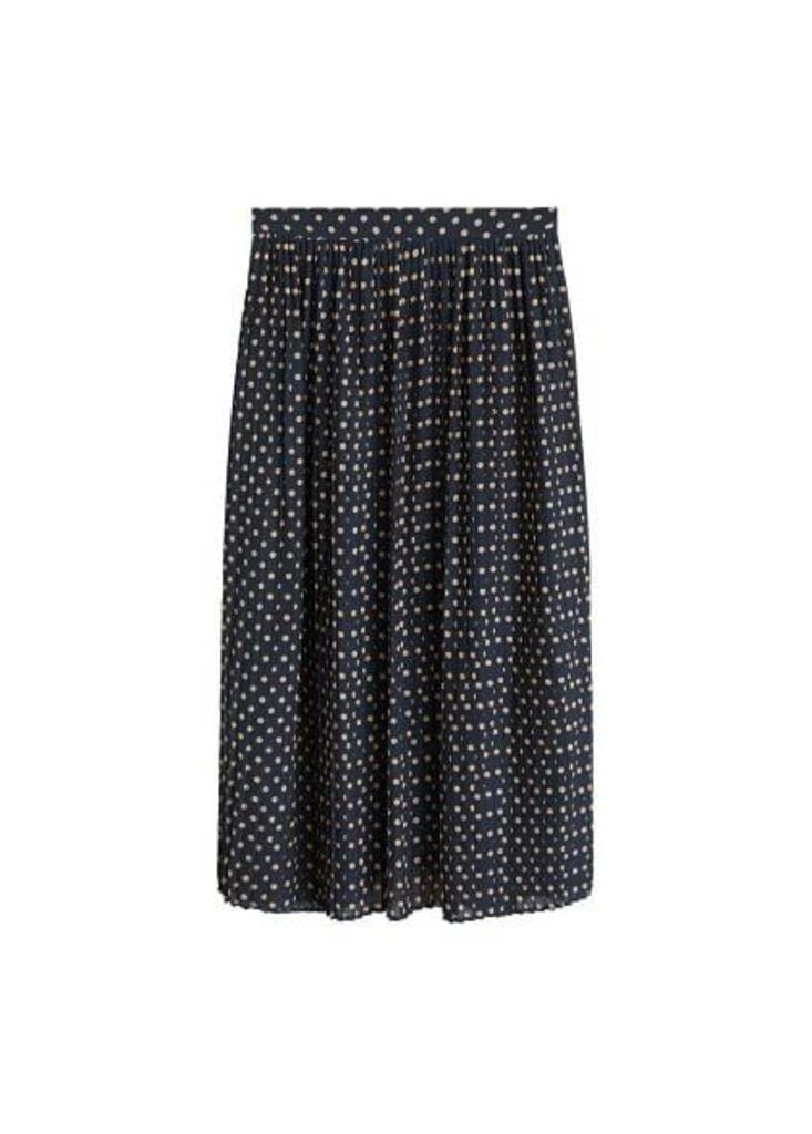 Polka-dot pleated skirt