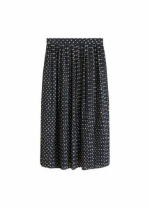 Polka-dot pleated skirt