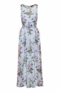 Lightweight maxi dress with floral print and side stripes