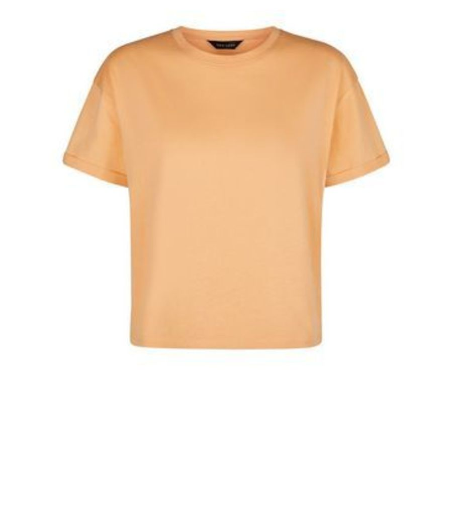 Coral Organic Cotton Boxy T-Shirt New Look