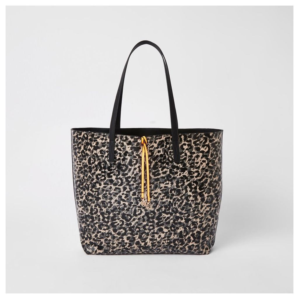 Womens Black leopard print shopper bag