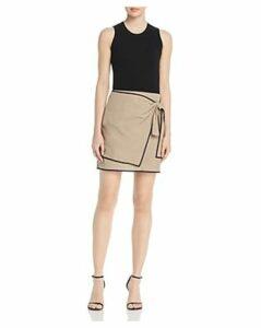 Paule Ka Color-Blocked Textured Cotton Mini Dress