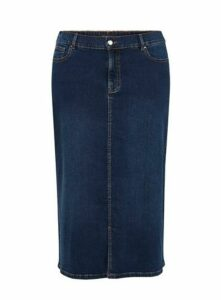 Indigo Denim Midi Skirt, Indigo