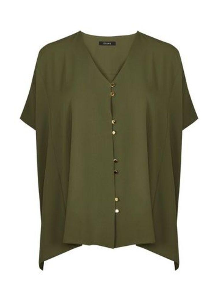 Khaki Button Cape Top, Green