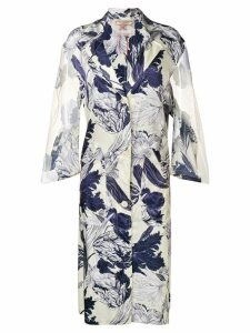 Stefano Mortari floral print trench coat - Blue