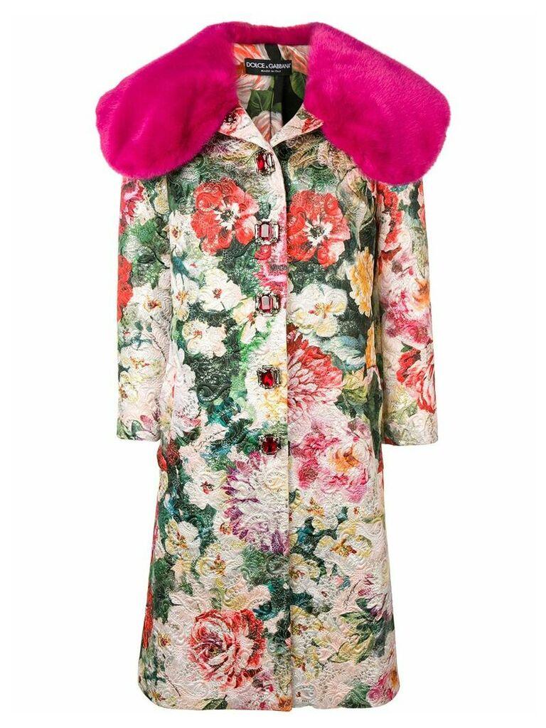 Dolce & Gabbana jacquard single breasted coat - Pink