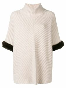 N.Peal fur trim knit poncho - Neutrals