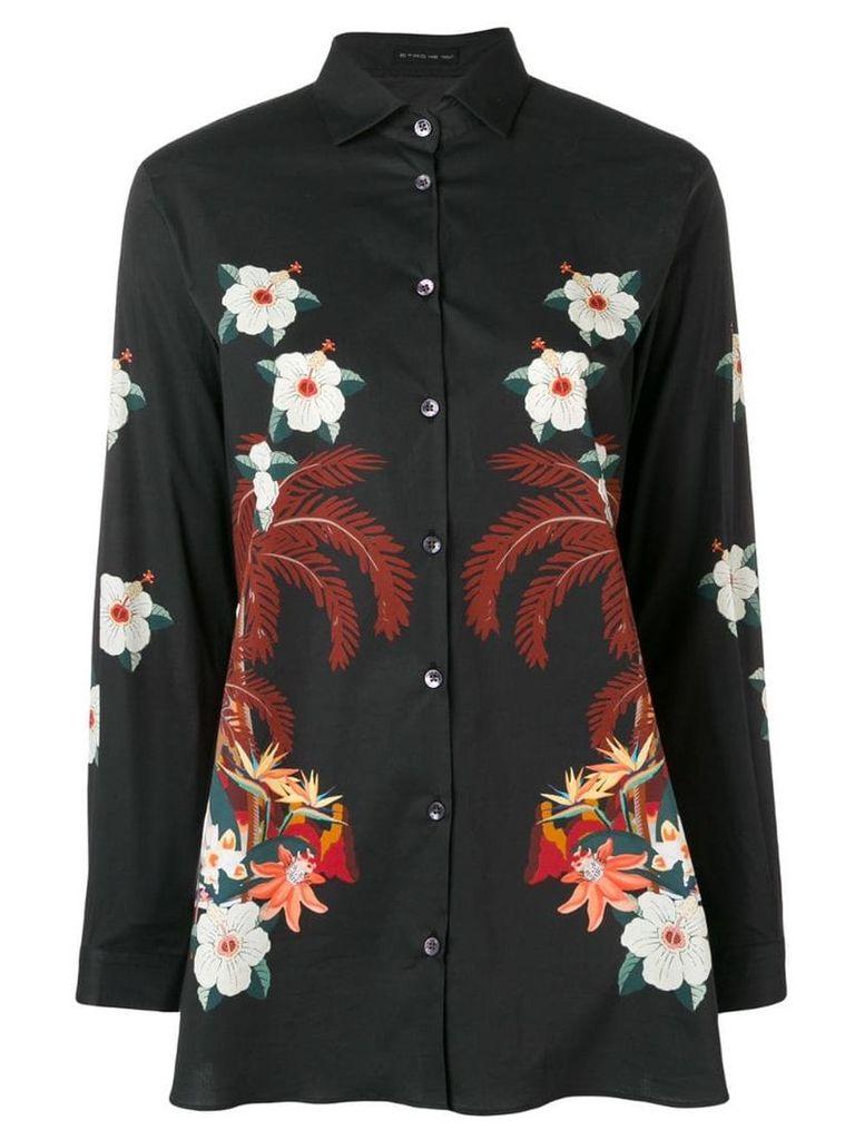 Etro floral print stretch-poplin shirt - Black