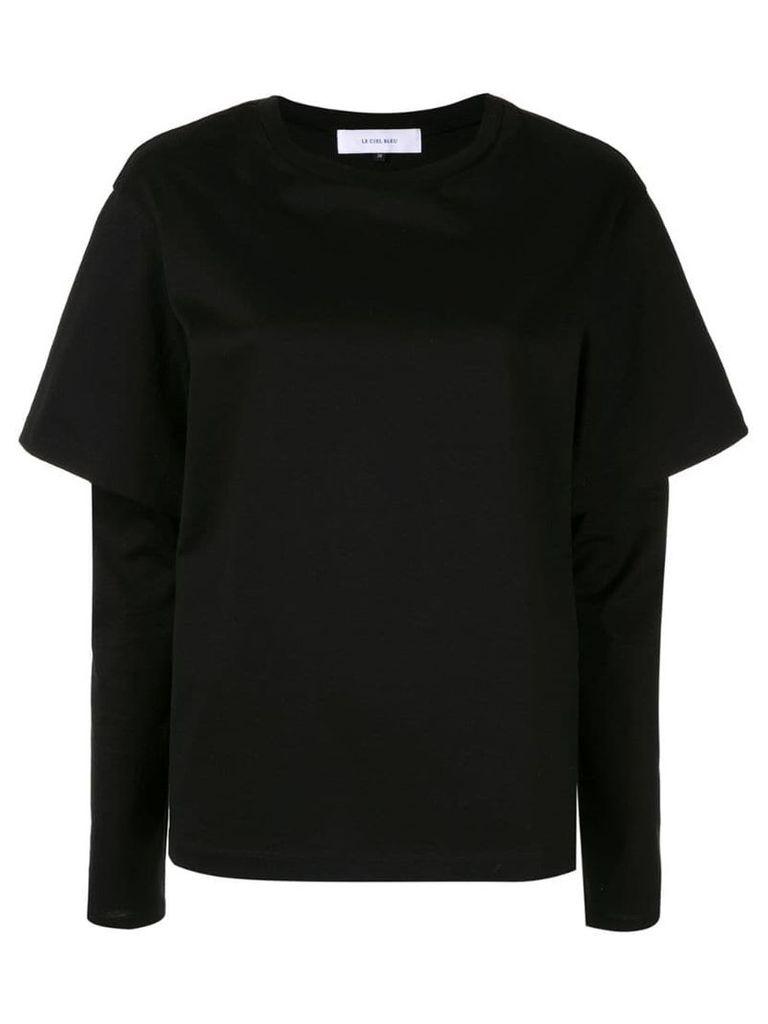 Le Ciel Bleu layered long-sleeve top - Black