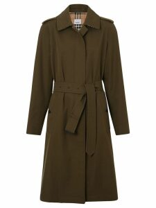 Burberry Tropical Gabardine Belted Car Coat - Green