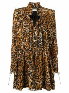 Saint Laurent leopard print silk dress - Brown