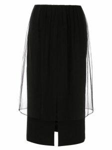 Le Ciel Bleu mesh-detail midi skirt - Black