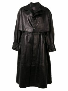 Bottega Veneta single-breasted leather trench coat - Black