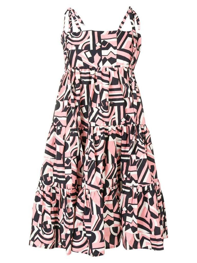 La Doublej geometric print flared dress - Black