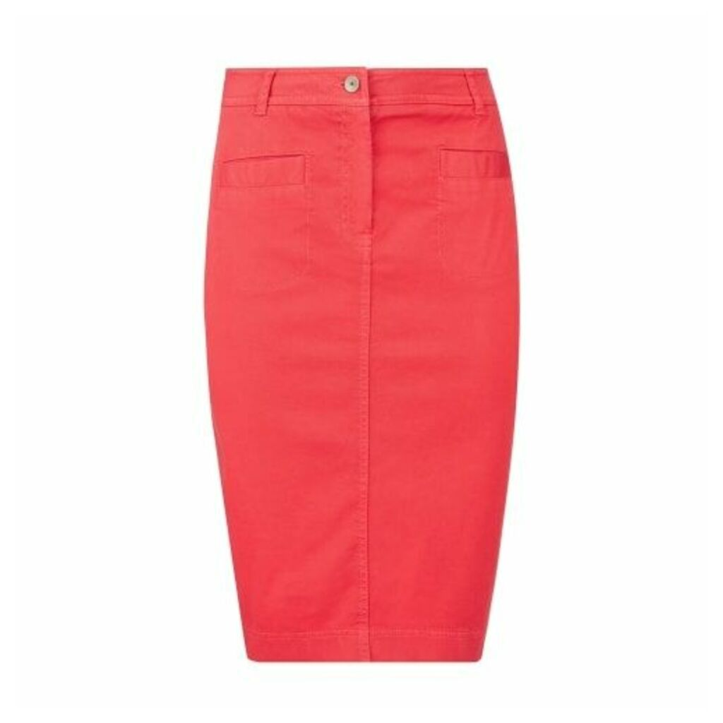 Red Knee Length Stretch Cotton Jean Skirt