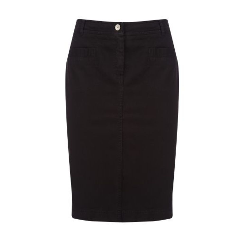 Black Knee Length Stretch Cotton Jean Skirt