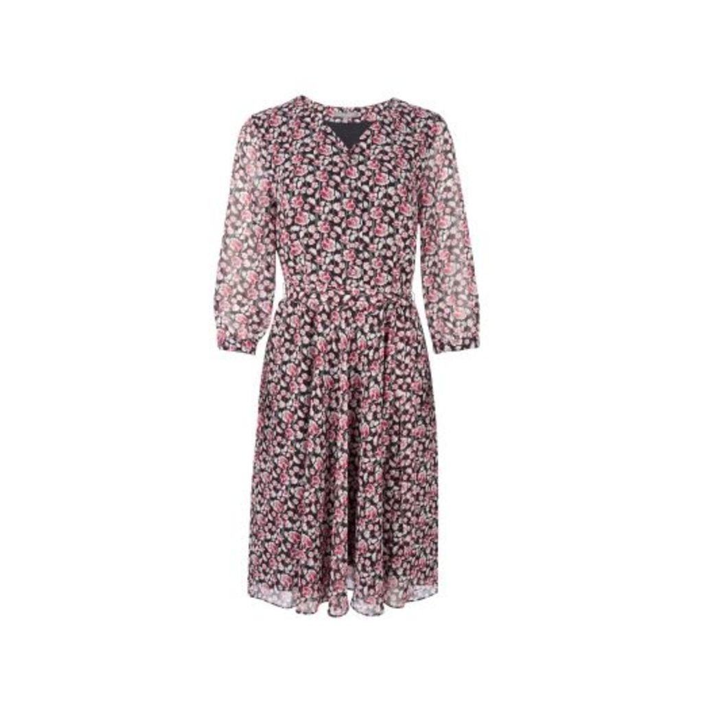 Floral Vine VNeck Tea Dress